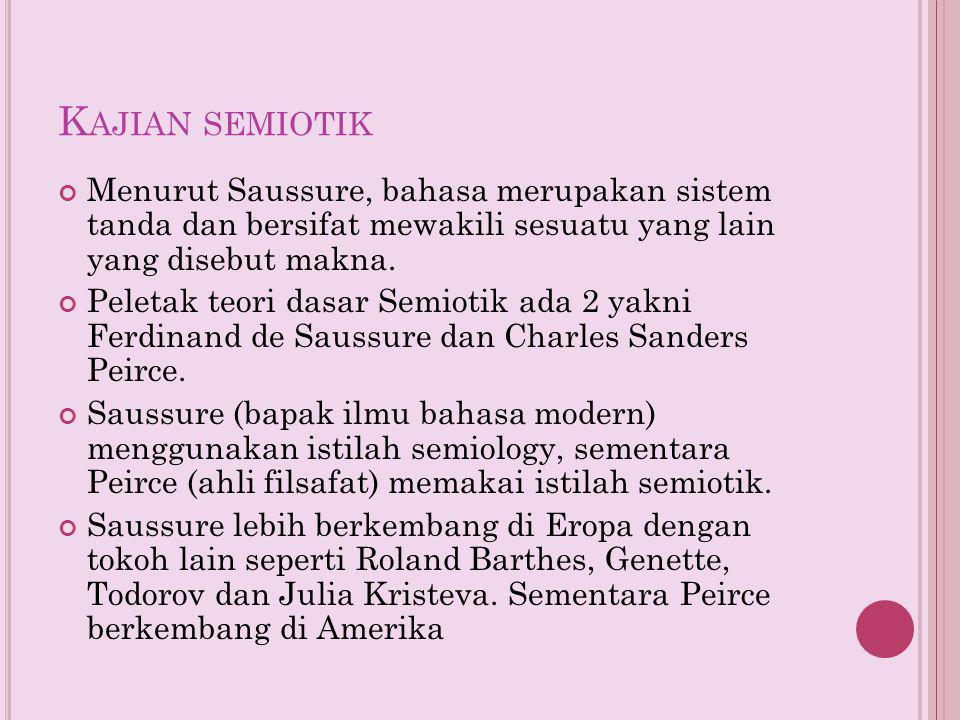 Kajian semiotik Menurut Saussure, bahasa merupakan sistem tanda dan bersifat mewakili sesuatu yang lain yang disebut makna.
