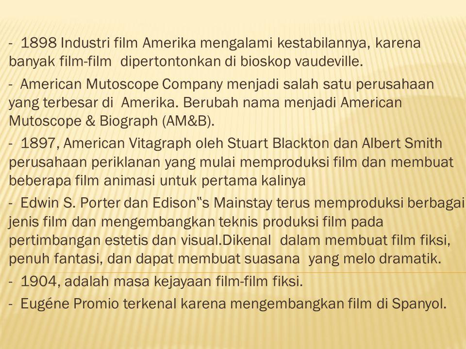 - 1898 Industri film Amerika mengalami kestabilannya, karena banyak film-film dipertontonkan di bioskop vaudeville.