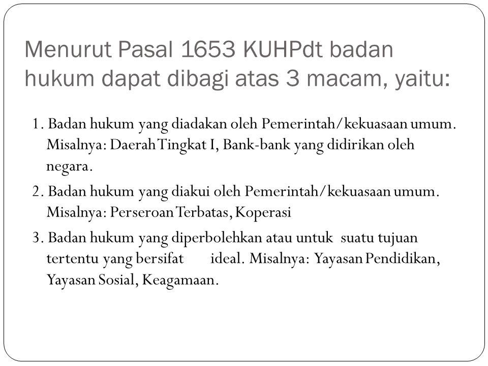 Menurut Pasal 1653 KUHPdt badan hukum dapat dibagi atas 3 macam, yaitu: