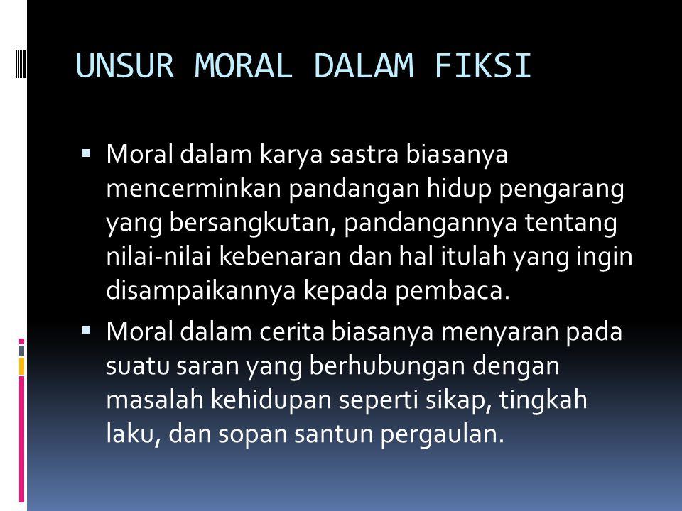 UNSUR MORAL DALAM FIKSI