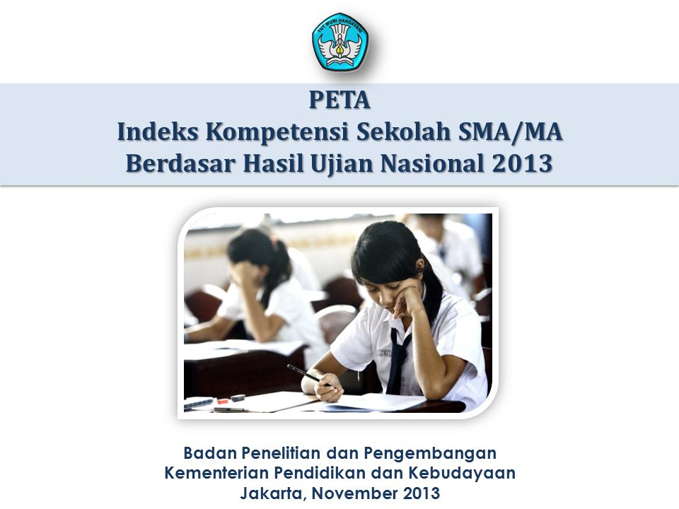 Indeks Kompetensi Sekolah SMA/MA Berdasar Hasil Ujian Nasional 2013