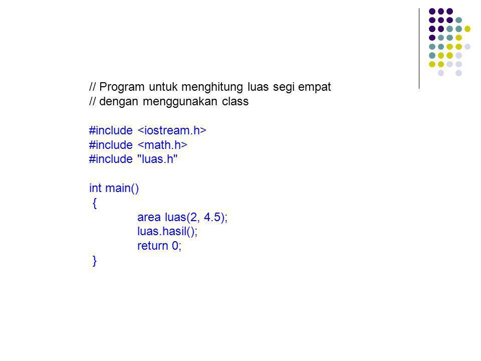 // Program untuk menghitung luas segi empat