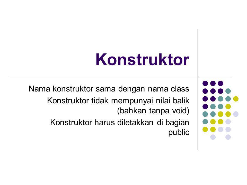 Konstruktor Nama konstruktor sama dengan nama class