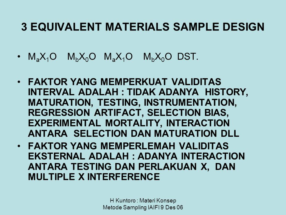 3 EQUIVALENT MATERIALS SAMPLE DESIGN
