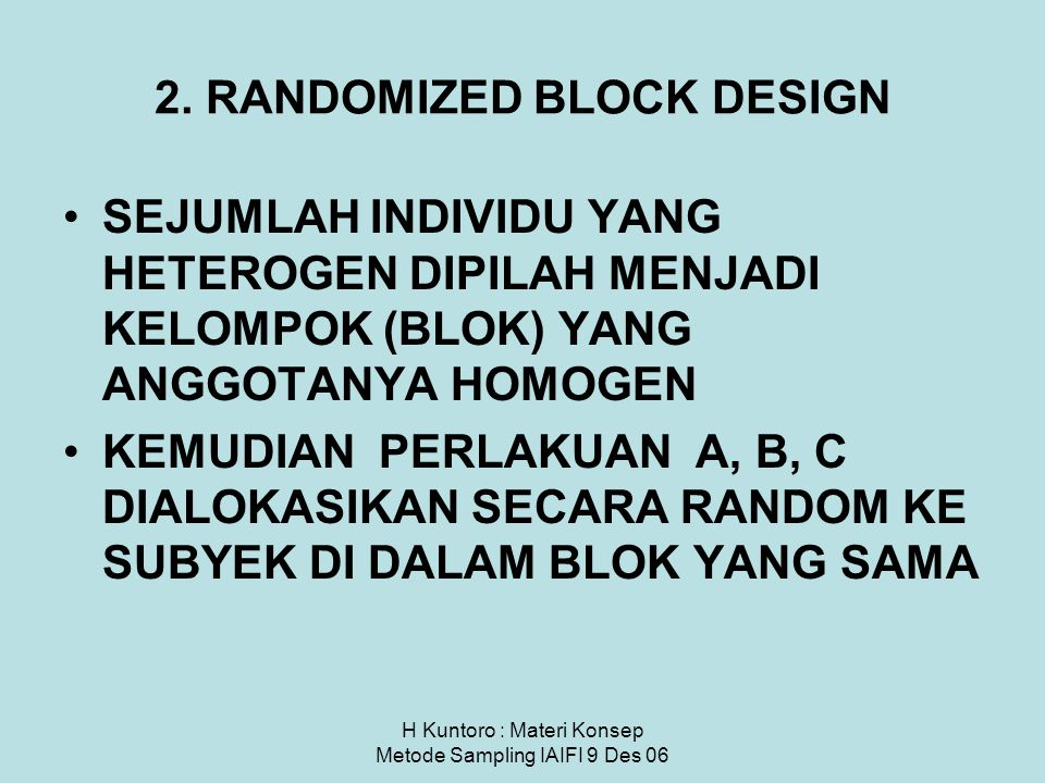 2. RANDOMIZED BLOCK DESIGN