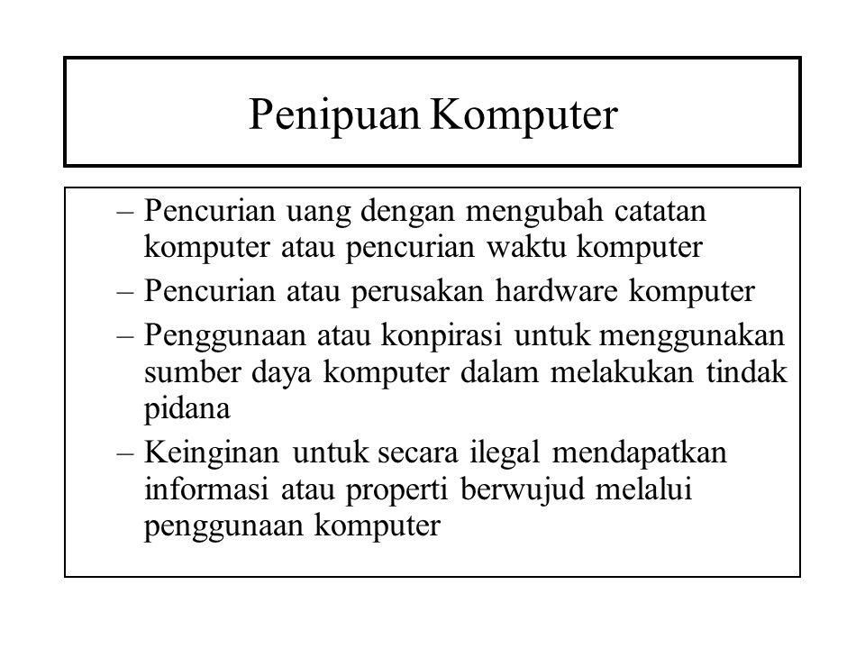 Penipuan Komputer Pencurian uang dengan mengubah catatan komputer atau pencurian waktu komputer. Pencurian atau perusakan hardware komputer.