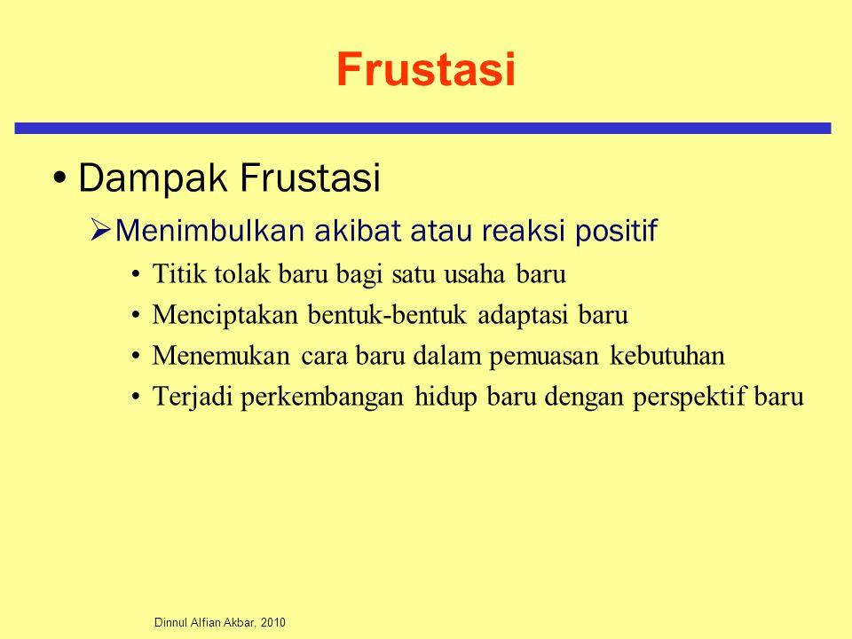 Frustasi Dampak Frustasi Menimbulkan akibat atau reaksi positif