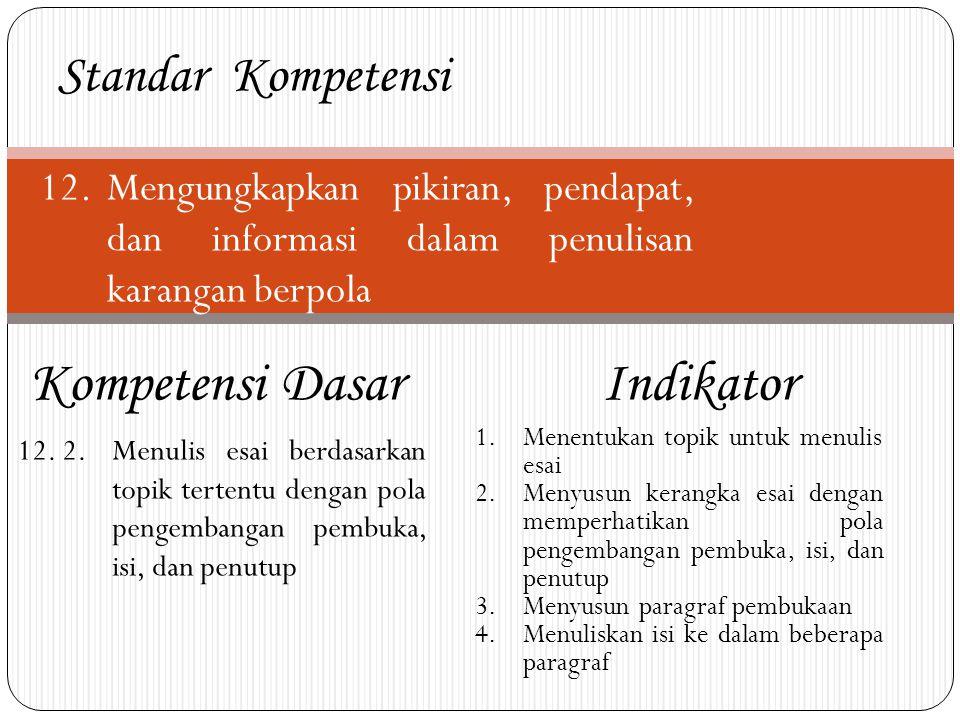 Kompetensi Dasar Indikator Standar Kompetensi