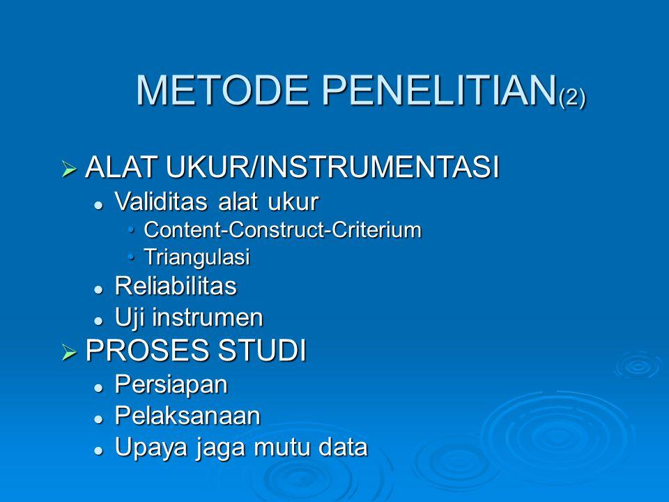 METODE PENELITIAN(2) ALAT UKUR/INSTRUMENTASI PROSES STUDI
