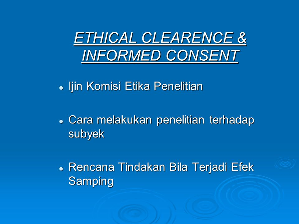 ETHICAL CLEARENCE & INFORMED CONSENT