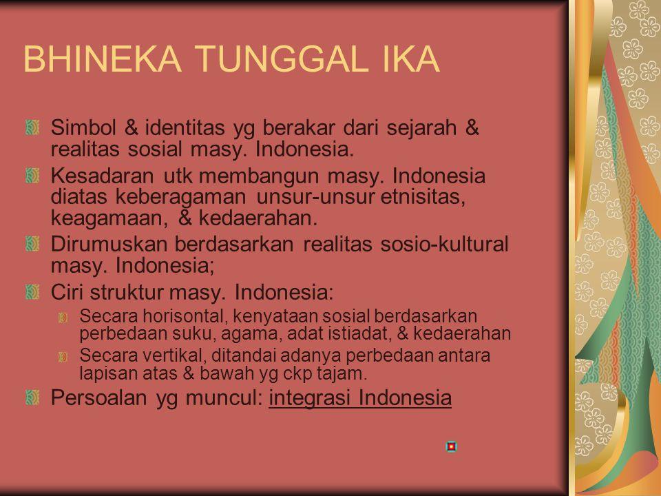 BHINEKA TUNGGAL IKA Simbol & identitas yg berakar dari sejarah & realitas sosial masy. Indonesia.