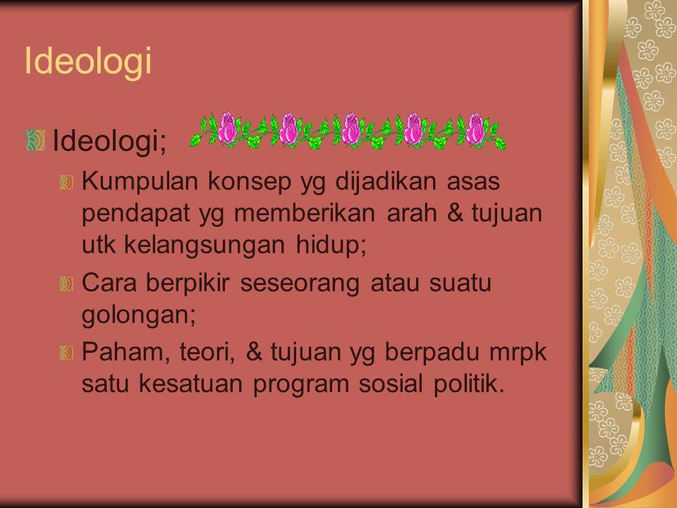 Ideologi Ideologi; Kumpulan konsep yg dijadikan asas pendapat yg memberikan arah & tujuan utk kelangsungan hidup;