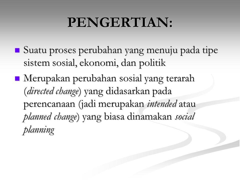 PENGERTIAN: Suatu proses perubahan yang menuju pada tipe sistem sosial, ekonomi, dan politik.