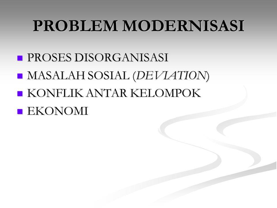 PROBLEM MODERNISASI PROSES DISORGANISASI MASALAH SOSIAL (DEVIATION)