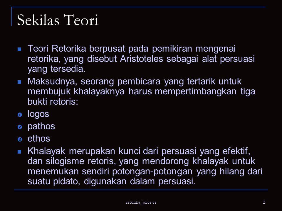 Sekilas Teori Teori Retorika berpusat pada pemikiran mengenai retorika, yang disebut Aristoteles sebagai alat persuasi yang tersedia.