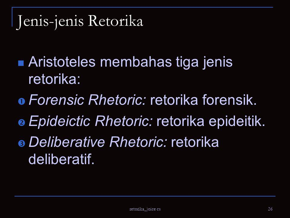 Jenis-jenis Retorika Aristoteles membahas tiga jenis retorika: