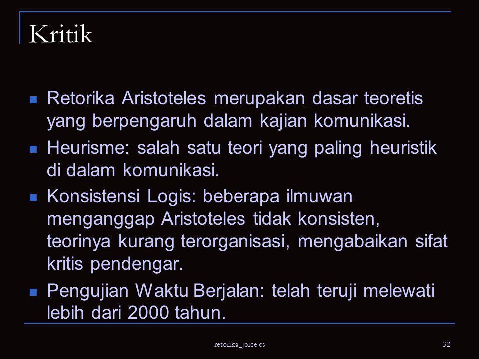 Kritik Retorika Aristoteles merupakan dasar teoretis yang berpengaruh dalam kajian komunikasi.