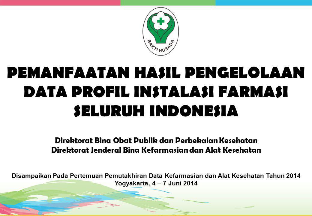 PEMANFAATAN HASIL PENGELOLAAN DATA PROFIL INSTALASI FARMASI SELURUH INDONESIA