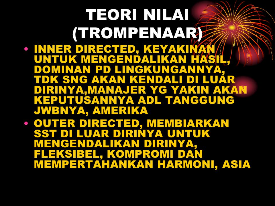 TEORI NILAI (TROMPENAAR)