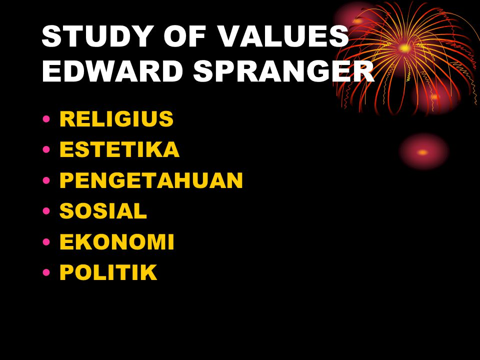 STUDY OF VALUES EDWARD SPRANGER