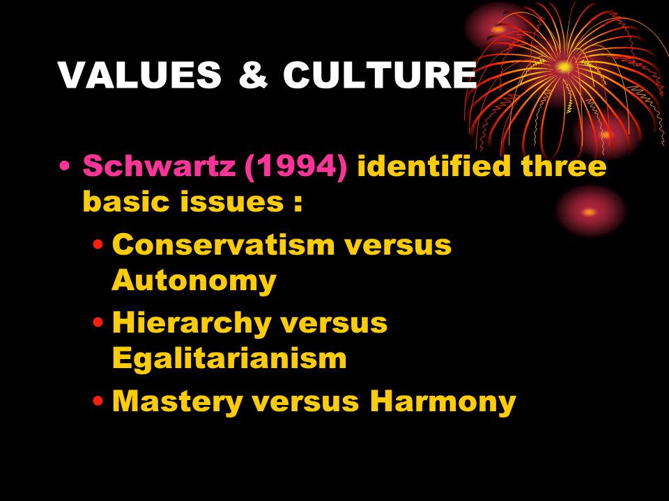VALUES & CULTURE Schwartz (1994) identified three basic issues :