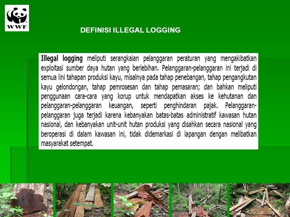 DEFINISI ILLEGAL LOGGING