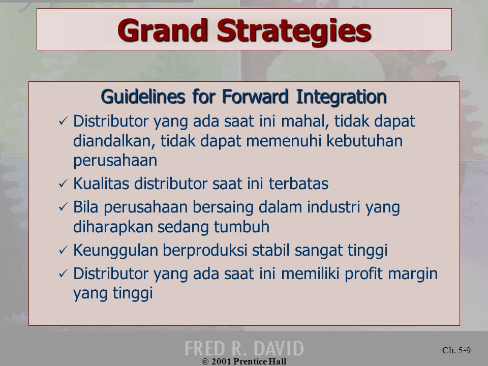 Guidelines for Forward Integration