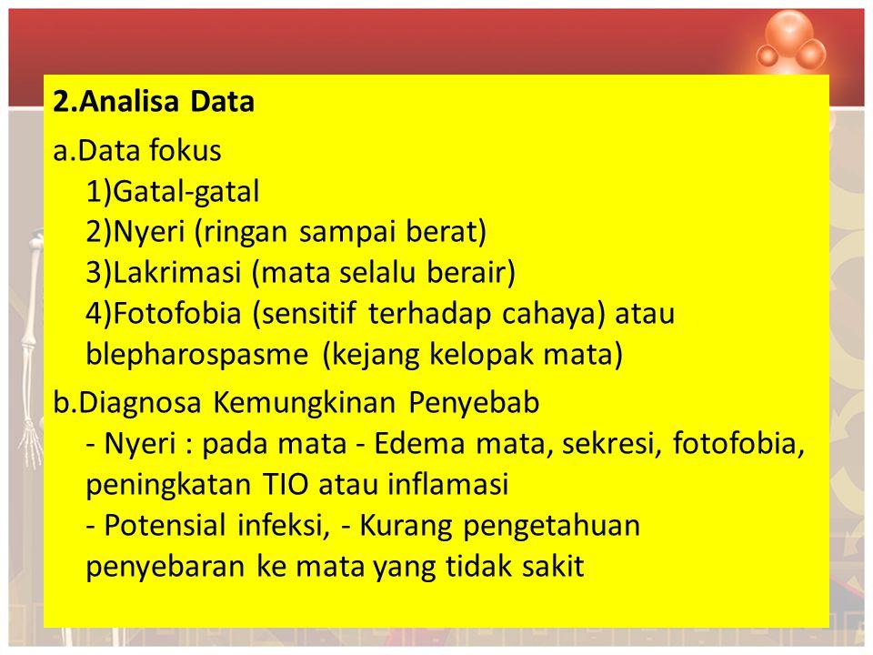 2.Analisa Data a.Data fokus 1)Gatal-gatal 2)Nyeri (ringan sampai berat) 3)Lakrimasi (mata selalu berair) 4)Fotofobia (sensitif terhadap cahaya) atau blepharospasme (kejang kelopak mata) b.Diagnosa Kemungkinan Penyebab - Nyeri : pada mata - Edema mata, sekresi, fotofobia, peningkatan TIO atau inflamasi - Potensial infeksi, - Kurang pengetahuan penyebaran ke mata yang tidak sakit