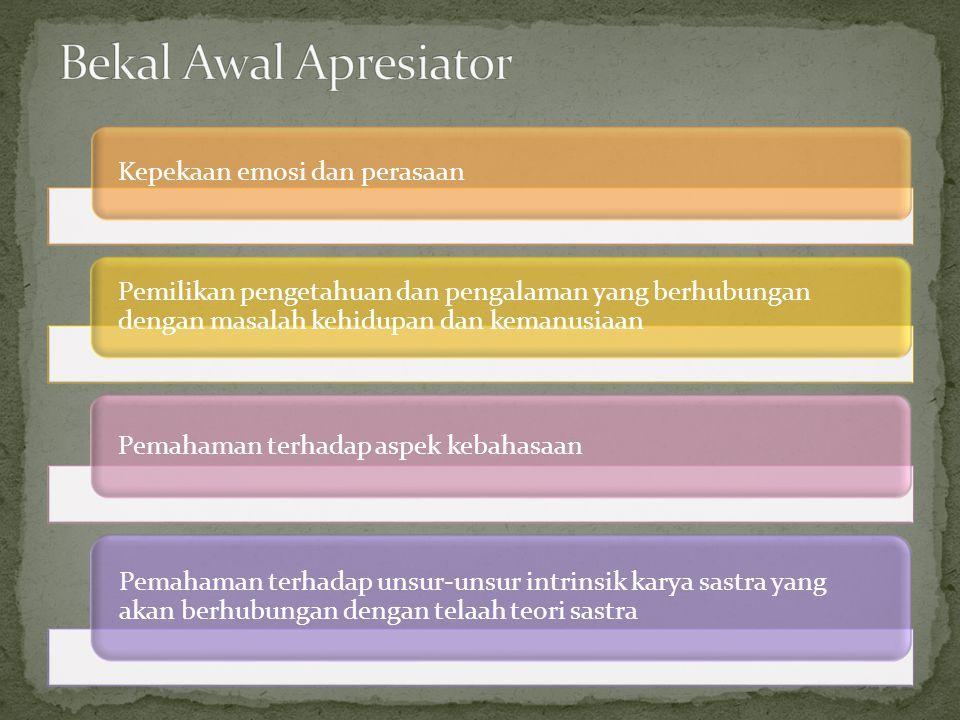Bekal Awal Apresiator Kepekaan emosi dan perasaan