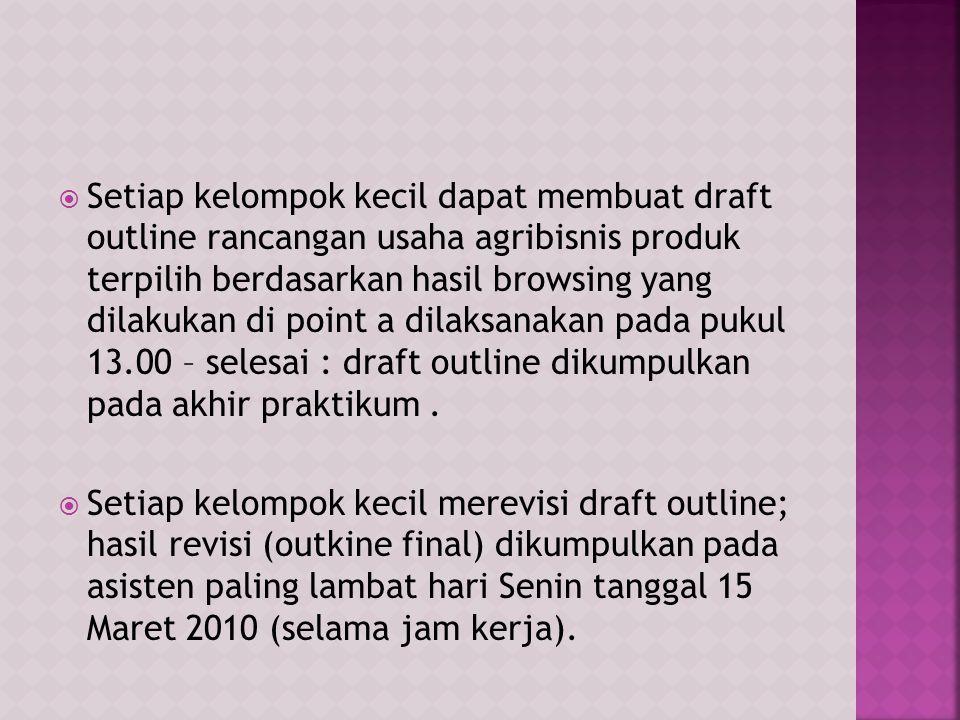 Setiap kelompok kecil dapat membuat draft outline rancangan usaha agribisnis produk terpilih berdasarkan hasil browsing yang dilakukan di point a dilaksanakan pada pukul 13.00 – selesai : draft outline dikumpulkan pada akhir praktikum .