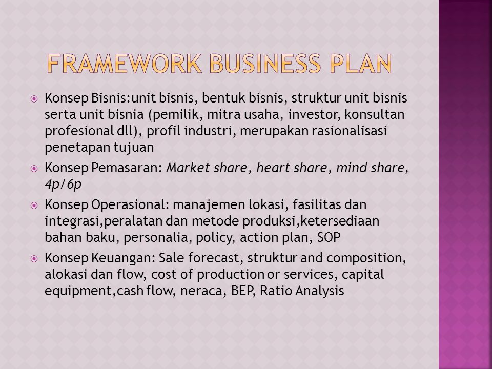 FRAMEWORK BUSINESS PLAN