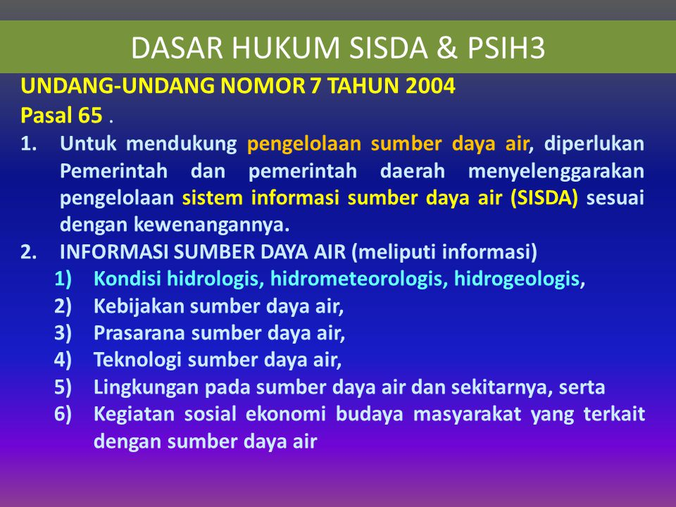 DASAR HUKUM SISDA & PSIH3