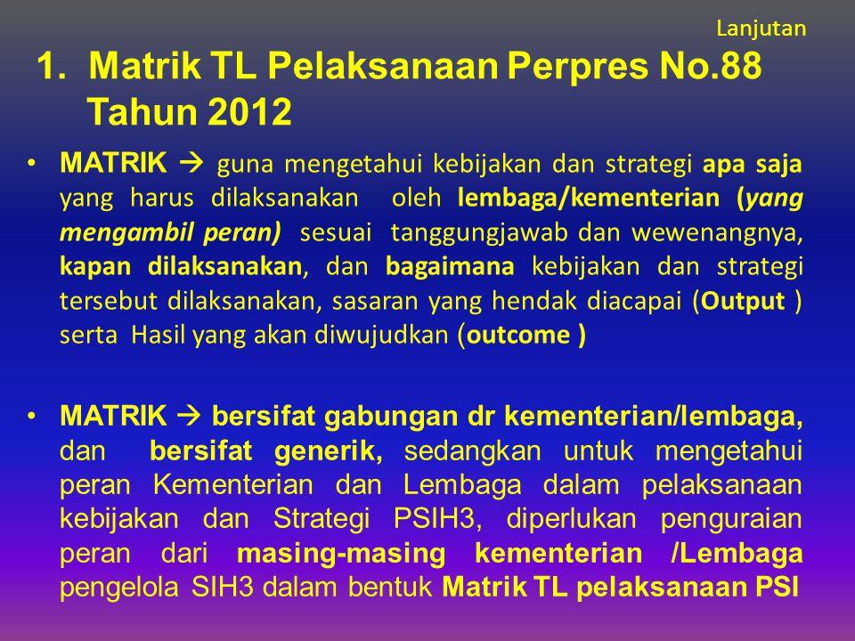 1. Matrik TL Pelaksanaan Perpres No.88 Tahun 2012