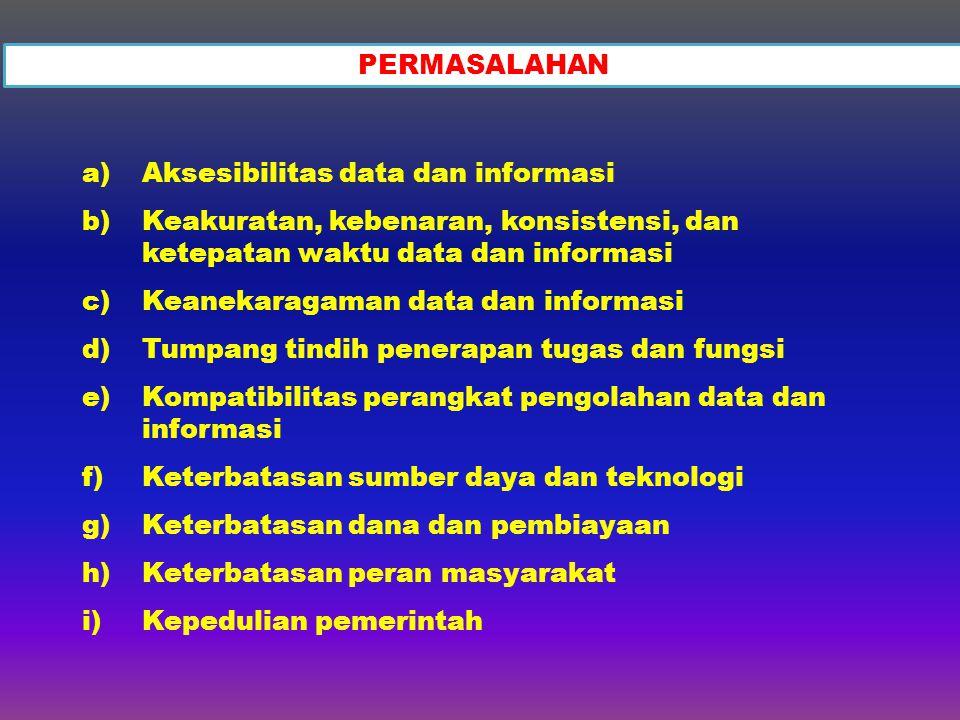 PERMASALAHAN Aksesibilitas data dan informasi. Keakuratan, kebenaran, konsistensi, dan ketepatan waktu data dan informasi.
