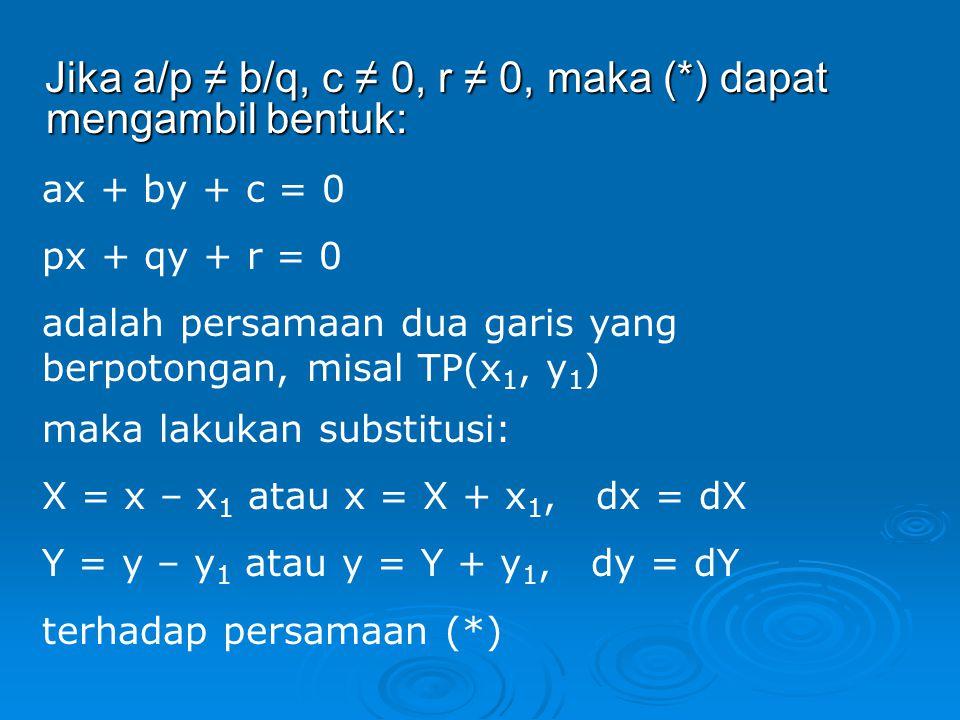 Jika a/p ≠ b/q, c ≠ 0, r ≠ 0, maka (*) dapat mengambil bentuk: