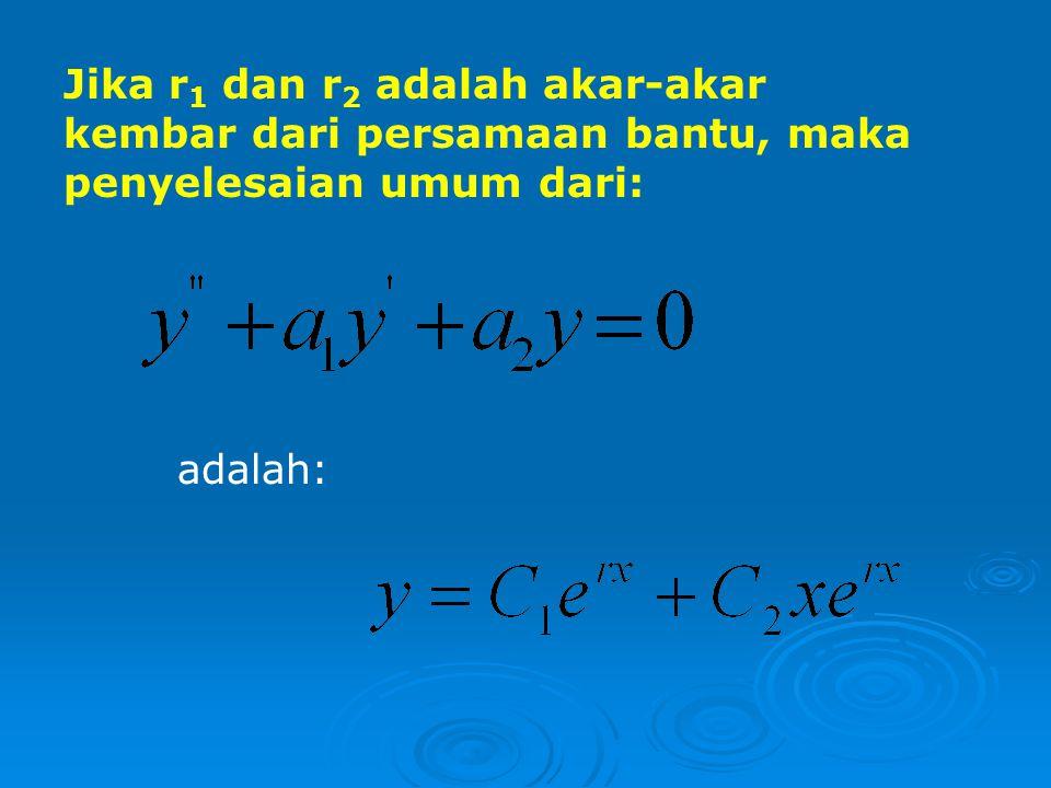 Jika r1 dan r2 adalah akar-akar kembar dari persamaan bantu, maka penyelesaian umum dari: