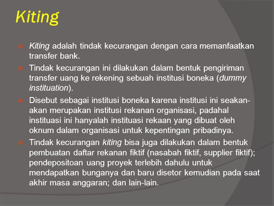 Kiting Kiting adalah tindak kecurangan dengan cara memanfaatkan transfer bank.