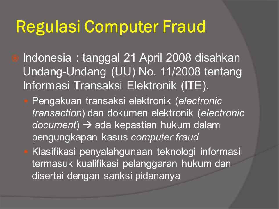 Regulasi Computer Fraud