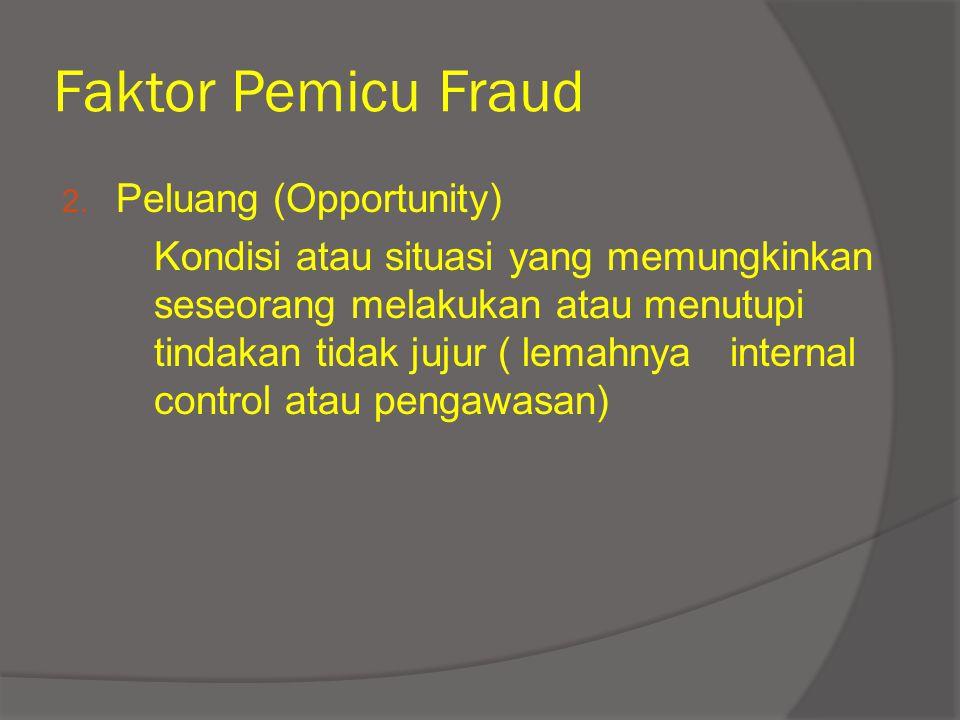 Faktor Pemicu Fraud Peluang (Opportunity)