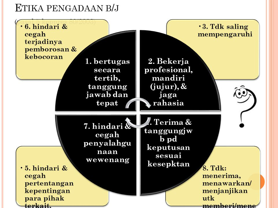 Etika pengadaan b/j (pasal 5 keppres 80/2003)