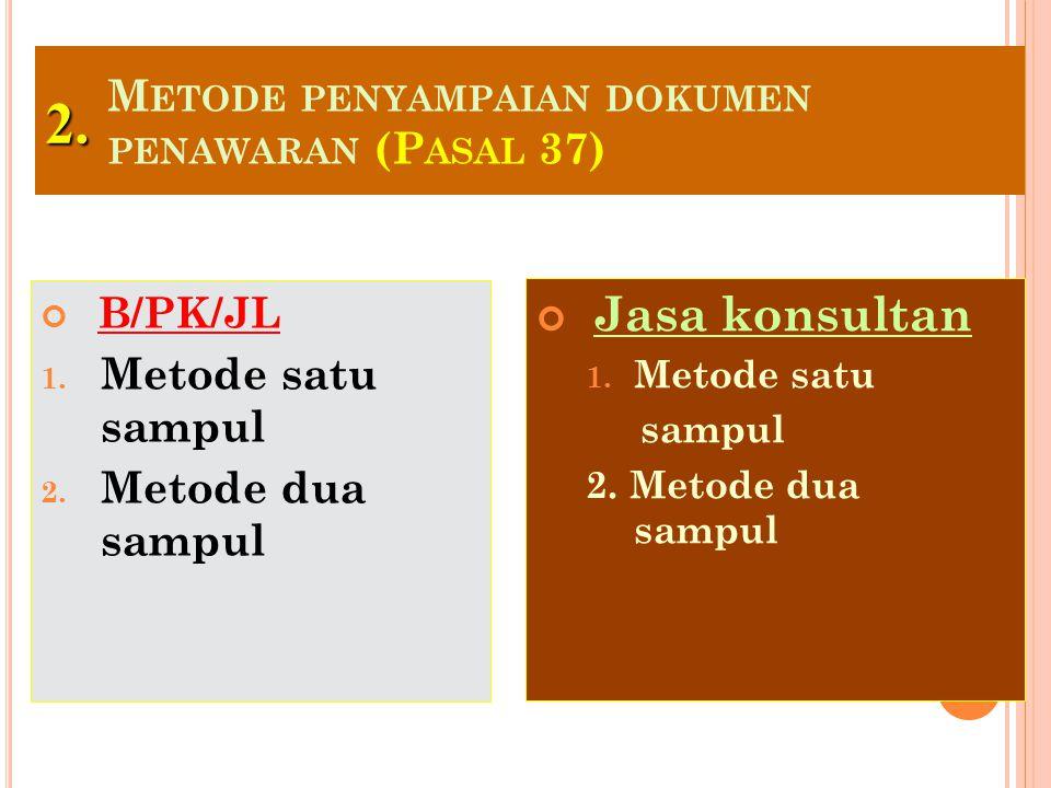 Metode penyampaian dokumen penawaran (Pasal 37)