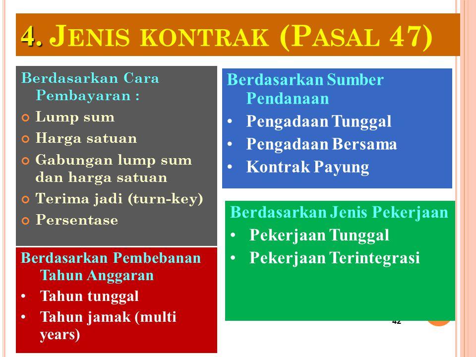 4. Jenis kontrak (Pasal 47) Berdasarkan Sumber Pendanaan
