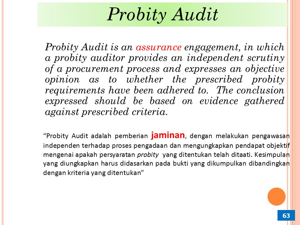 Probity Audit