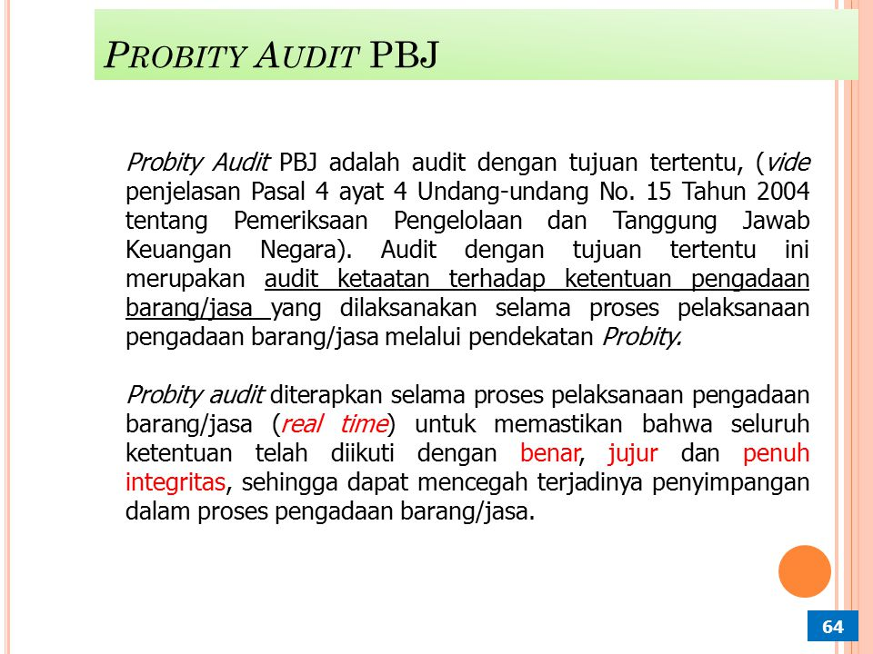 Probity Audit PBJ