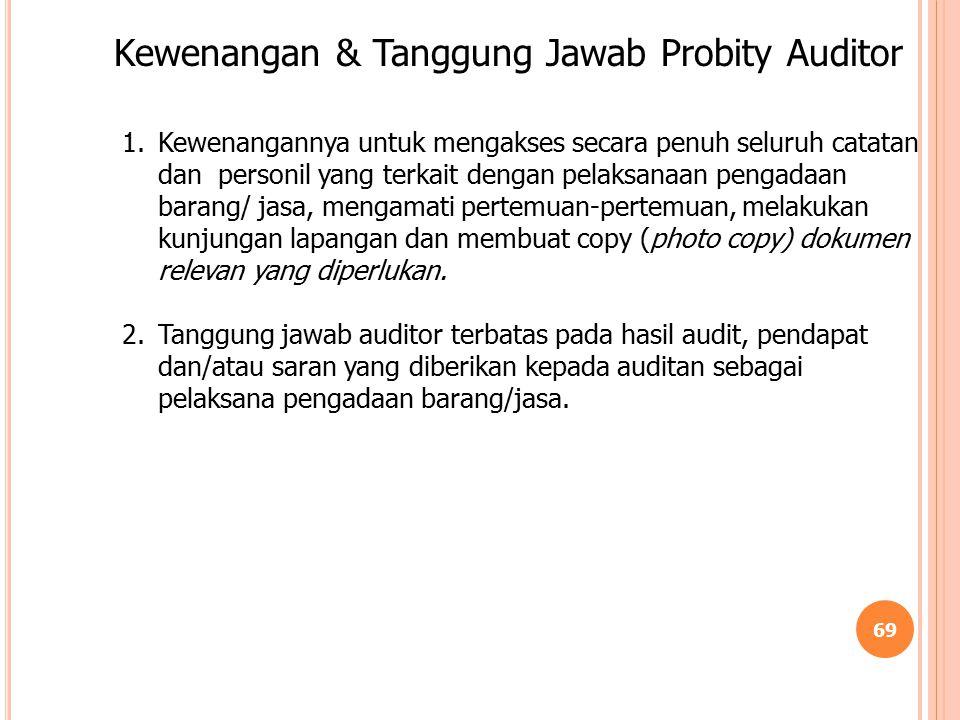 Kewenangan & Tanggung Jawab Probity Auditor