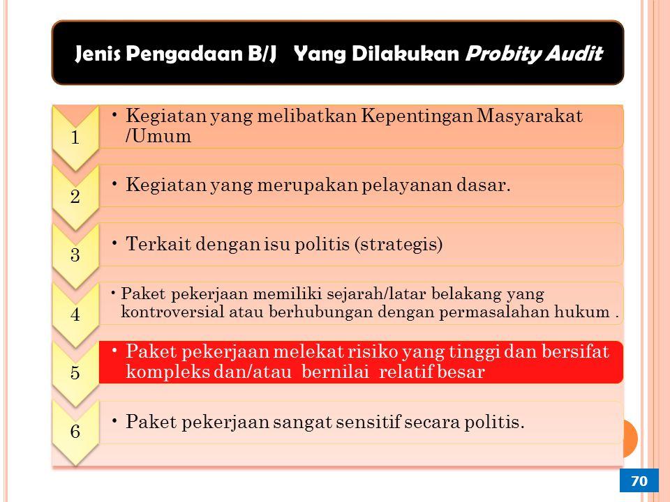 Jenis Pengadaan B/J Yang Dilakukan Probity Audit