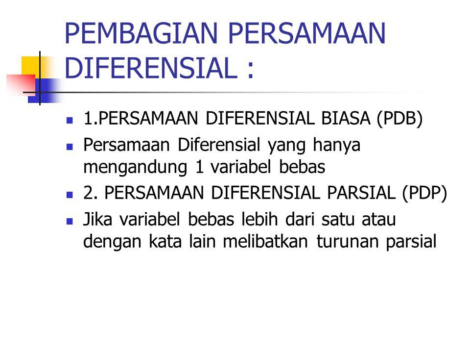 PEMBAGIAN PERSAMAAN DIFERENSIAL :