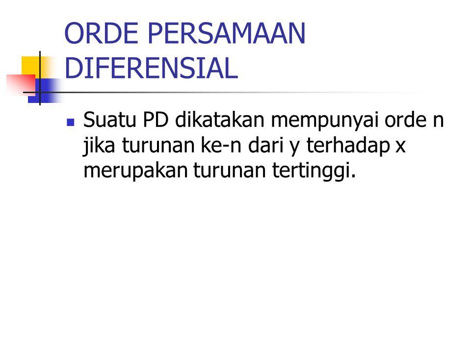 ORDE PERSAMAAN DIFERENSIAL