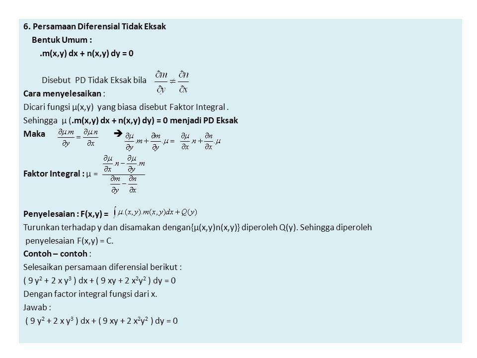 6. Persamaan Diferensial Tidak Eksak
