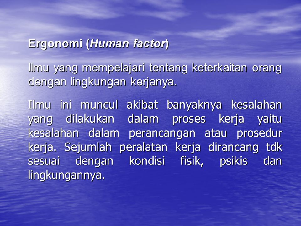Ergonomi (Human factor)